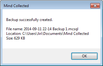 The message of successful backup displays the file name and size
