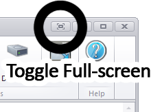 Toggle the full-screen mode by clicking this button